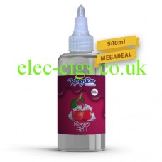a massive  bottle of Cherry Chill 500 ML E-Liquid by Kingston in the middle of a white background