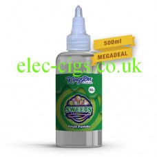 a great big bottle, with a green label, containing Fruit Pastels 500 ML E-Liquid by Kingston