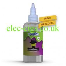 A massive bottle of Grape Zingberry 500 ML E-Liquid by Kingston