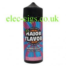 Image shows a bottle of Major Flavor Bubblegum 100 ML E-Liquid