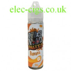 Image shows a bottle of Banana Shake 50 ML E-Liquid by Milky Moo Shakes
