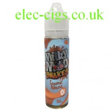 Image shows a bottle of Coconut Almond Shake 50 ML E-Liquid by Milky Moo Shakes