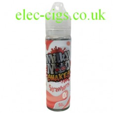 Image shows a bottle of Strawberry Shake 50 ML E-Liquid by Milky Moo Shakes