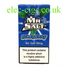 image shows a box of Blueberry 10 ML Nicotine Salt E-Liquid by Mr Salt