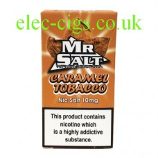 image shows a box of Caramel Tobacco 10 ML Nicotine Salt E-Liquid by Mr Salt