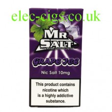 image shows a box of Grape Ice 10 ML Nicotine Salt E-Liquid by Mr Salt