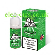 image shows a box of Menthol 10 ML Nicotine Salt E-Liquid by Mr Salt