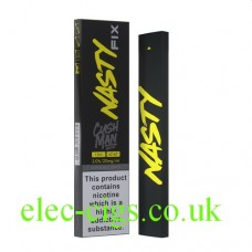 Image shows the outer box and the device which is the Nasty Fix Cushman 300 Puff Disposable E-Cigarette with 20mg of Nicotine Salt