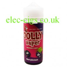 Image shows a bottle of Berrylicious 100 ML E-Liquid from Jolly Vaper