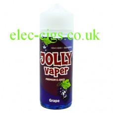 image shows a bottle of Grape 100 ML E-Liquid from Jolly Vaper