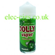 image shows a bottle of Menthol 100 ML E-Liquid from Jolly Vaper