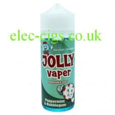 image shows a bottle of Peppermint and Bubblegum 100 ML E-Liquid from Jolly Vaper