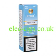 Image shows a bottle and box on a white background of Fruit Fizz 10 ML E-Liquid by iFresh