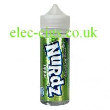 Image shows a bottle of Nurdz Apple Flavour 100 ML E-Liquid