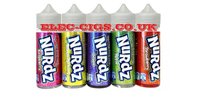 Image shows several of the flavours in the range of Nurdz 100ML E-Liquid