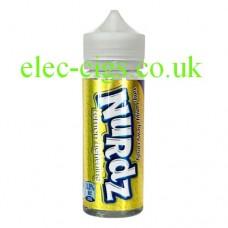 Image show a bottle, with a bright yellow metallic label containing Nurdz Lemon Lightning Flavour 100 ML E-Liquid