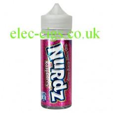 Image shows a bottle of Nurdz Raspberry Flavour 100 ML E-Liquid