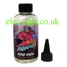 Image shows a bottle of Piranha Blood River 200 ML E-Liquid on a white background