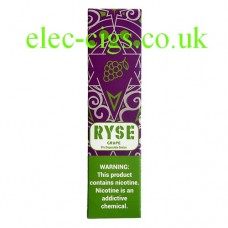 image shows a box of Ryse All-in-One Disposable E-Cigarette Grape