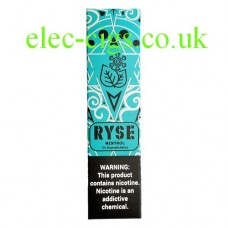 image shows a box of Ryse All-in-One Disposable E-Cigarette Menthol