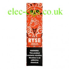 image shows a box of Ryse All-in-One Disposable E-Cigarette Peach Ice