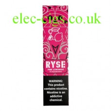image shows a box of Ryse All-in-One Disposable E-Cigarette Pink Lemonade