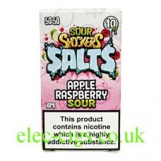 Image shows the box containing the Sour Shockers 10ML Nicotine Salt E-Liquid: Apple Raspberry Sour