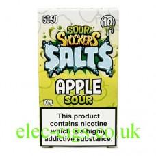 Image of the box containing Sour Shockers 10ML Nicotine Salt E-Liquid: Apple Sour
