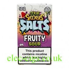 Image shows a box containing Sour Shockers 10ML Nicotine Salt E-Liquid: Fruity Sour