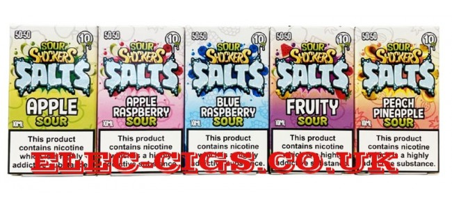 Image shows five of the seven flavours in the Sour Shocker 10ML Salts range of e-liquids