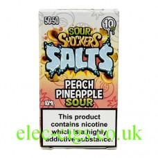 Sour Shockers 10ML Nicotine Salt E-Liquid: Peach Pineapple in a box