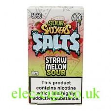 Sour Shockers 10ML Nicotine Salt E-Liquid: Straw Melon in a box