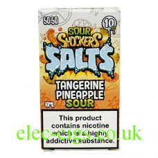 Image of a box with Sour Shockers 10ML Nicotine Salt E-Liquid: Tangerine Pineapple inside it.