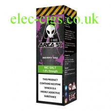 Image shows a box containing one 10 ml bottle of Area 51 Nicotine Salt E-Liquid 10 ML Berry Mix