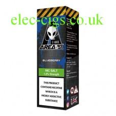 image shows a box containing Area 51 Nicotine Salt E-Liquid 10 ML Blueberry