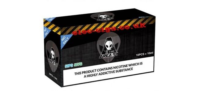 Image shows a black box with 10 Area 51 Nic-Salt 50-50 (VG/PG) E-Liquids 10ML