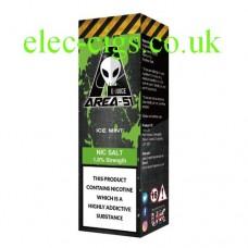 image shows a bottle containing Area 51 Nicotine Salt E-Liquid 10 ML Ice Mint