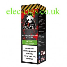 image shows a bottle containing Area 51 Nicotine Salt E-Liquid 10 ML Ice Watermelon Lychee