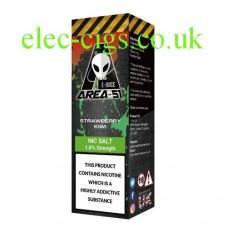 image shows a bottle containing Area 51 Nicotine Salt E-Liquid 10 ML Strawberry Kiwi