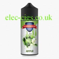 White labeled bottle of Simplicious Apple 100ML E-Liquid on plain background