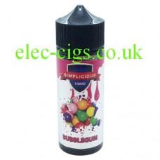 image shows a large bottle of Simplicious Bubblegum 100ML E-Liquid