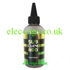 Image shows a huge bottle of Neon Slush 200 ML E-Liquid in the Sub Ohm Range