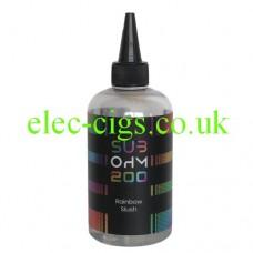 Image shows a huge bottle of Rainbow Slush 200 ML E-Liquid in the Sub Ohm Range