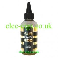 Image shows a huge bottle of Vanilla Custard 200 ML E-Liquid in the Sub Ohm Range