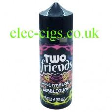 image shows a bottle of Two Friends 100ML E-Liquid Honey Melon Bubblegum