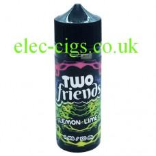 Image shows a bottle of Two Friends 100ML E-Liquid Lemon Lime