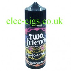 image shows a bottle of Two Friends 100ML E-Liquid Mango Lychee