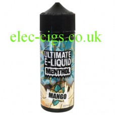 image shows the bottle containing the Mango 100 ML E-Liquid from the 'Menthol' Range by Ultimate Puff