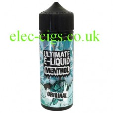 image shows a bottle containing the Original 100 ML E-Liquid from the 'Menthol' Range by Ultimate Puff