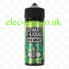 A bottle of Twist It 100 ML Ice Lolly Range by Ultimate E-Liquid photographed on a white background
